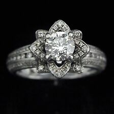 1.8ct Diamond Platinum Engagement Ring Wedding Floral Estate Certified Appraised