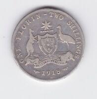 1918 Florin Australia Sterling Silver Con I-548