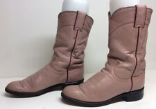 WOMENS JUSTIN WESTERN ROPER LEATHER PINK BOOTS SIZE 6 B