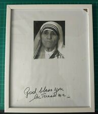 More details for mother teresa hand written note/signature - framed with coa