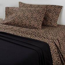 Concierge Collection 100% Cotton Black Blanket & Leopard Sheet set, Twin