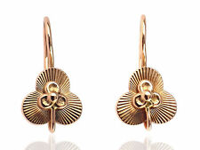 Handgefertigte Glücksbringer 585 Rot Gold Klee Blatt Damen Ohrringe