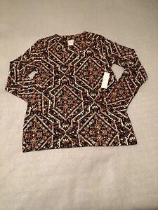 chicos block print layering tee long sleeve classic fit scoop neckline medium