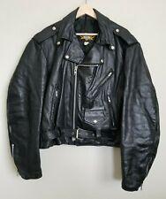Universal Rider Biker Moto Leather Jacket Black Zip Snaps Belt Pockets Lined M