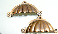 """2 heavy shell shape pulls handle antique solid brass vintage 4"""" vintage style"""