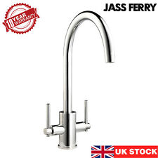 JASSFERRY New Brass Kitchen Mixer Taps Double Lever Sink Swivel Spout Chrome