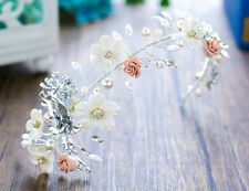 Gorgeous Bridesmaids Bridal Flower Vintage Style Pearl Crystal Hair Piece Tiara