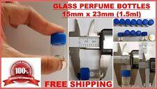 Tiny Small TRAVEL MINI GLASS PERFUME BOTTLES JARS LEAR VIALS 15 x 23mm BLUE 1ML