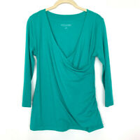 Soft Surroundings Size Small Shapely Surplice 3/4 Sleeve Top Faux Wrap Green
