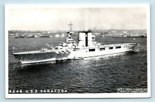 USS SARATOGA WWII AIRCRAFT CARRIER - PACIFIC AERIAL SURVEYS RPPC - MILITARY - A2