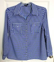 Elementz Womens Medium Long Sleeve Blouse Blue Striped Roll-tab Tunic Pockets