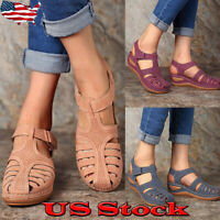 Womens Casual Wedge Round Toe Hollow Out Sandals Slip On Shoes Comfy Solid Shoes