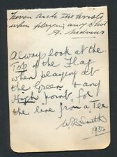 1930 Vintage Golf Autograph Sheet WALTER B. SMITH/GEORGE DUNCAN/ANDREWS Amazing!