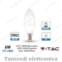 Lampadina led V-TAC 6W = 40W E14 VT-1855 a candela attacco piccolo smd VTAC