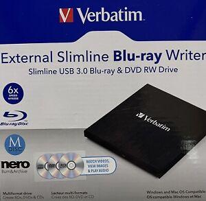 Verbatim 43887 External Mobile USB3 Bluray M-Disc Writer Drive For Mac PC