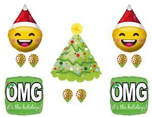 Christmas Emoji Santa OMG Holidays party Balloons Decorations Supplies Office