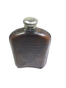 Vintage Alaska Flask Glass Bottle Leather Covered Whisky Bar-O-Meter