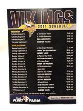 """2011 Minnesota Vikings Skol Mills Fleet Farm NFL Fridge Magnet Schedule 7x5"""""""