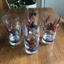 4 Hazel Atlas Pheasant Glasses 12 oz Highball Red Black Game Hunting Sport