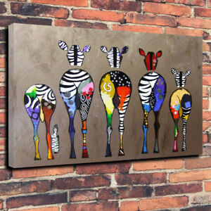 Funny Abstract Zebra Bum Printed Canvas Picture Multiple Sizes 30mm Deep Frame