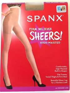 Spanx S4 Taupe Firm Believer  Size C Sheers High Waisted Style 20217R NWT