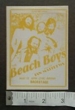 Beach Boys,Original 1979 Backstage pass,May 12th,Pgh Civic Arena