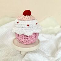 NEW! Handmade White Cherry Crochet Cupcake Decoration PAIRS WELL w/ Rae Dunn