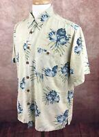 Banana Cabana Hawaiian Floral Button Front 100% Silk Beige Blue Shirt Men's L