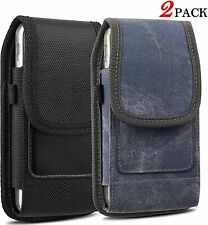 2 Pack Vertical Belt Holster Case Sturdy Carrying Pouch with Belt Clip for Phone