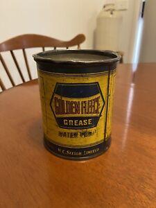 Vintage Golden Fleece Hex 1 Pound Water Pump Grease Tin.