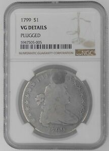 1799 Draped Bust 1$ US Silver Dollar Certified NGC Very Good Details