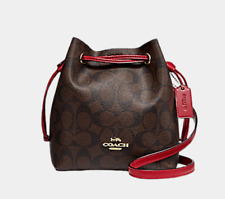 Coach Women's Lena Mini Bucket Drawstring PVC Leather ShoulderBag-RED/DARK BROWN