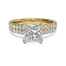 1.60 Ct Princess Cut Solitaire Diamond Wedding Ring 14K Solid Yellow Gold Rings