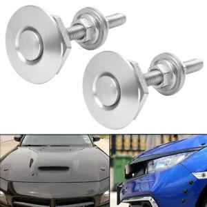 2pcs Silver Push Button Quick Release Car Bumper Hood Pin Bonnet Lock Latch Clip