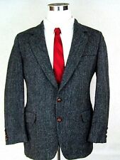 Harris Tweed 40R Blazer Jacket Wedding Country Hipster Leather Buttons Wool