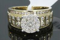 10K YELLOW WHITE GOLD 1.10 CT WOMEN REAL DIAMOND ENGAGEMENT RING WEDDING BRIDAL