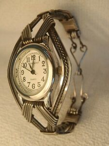 STERLING SILVER SS METAL WRAPPED WOMENS WATCH ARTISAN DESIGNED HAND MADE OOAK!!