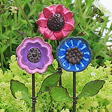 Button Head Flower Pick ~ Fairy Garden Miniature ~  Miniature Garden ~ Set of 3