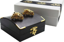 MOTORCYCLE CUFFLINKS 24k GOLD Clad Luxury Gift Case Box Biker Gifts Harley Bike