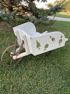 Vintage Wooden Small Garden Decorative Wheelbarrow