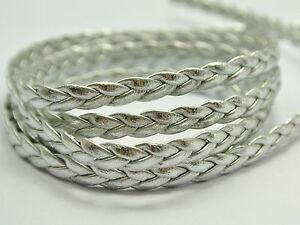 10 meter(32.8 Feet) Silver Flat Braided Bolo Synthetic Leather String Jewelry Co