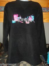 KAREN SCOTT Sport * BLACK Micro-Fleece TOP * SHOP TIL YOU DROP Embroider* M / L