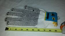 ADULT  WHITE COTTON KNIT WORK GLOVES WITH GRIPS ON BOTH SIDES 2 SETS