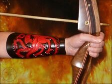 Hand Carved Leather Archery Bracer, Armguard. Game of Thrones, Targaryen