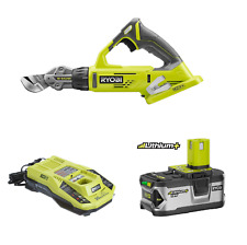 Ryobi P591 18-Volt One+ 18-Guage offset Shear, P108 4.0Ah Battery, P117 Charger