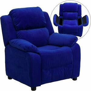 Flash Furniture Padded Blue Microfiber Kids Recliner with Storage Arms New