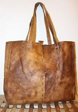 Handmade Recycled genuine natural Leather Vintage Unique trendy durable tote Bag