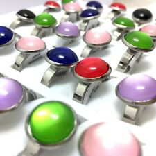 36pcs Colorful Natural Opals Cat Eye Stone Ring Stainless steel Charm Jewelry