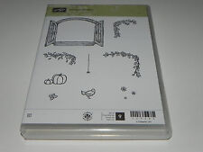 Stampin Up Cottage Window CLEAR Mount Stamp Set of 9 Bird Pumpkins Butterfly