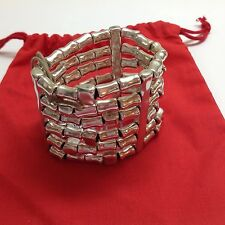 "NWT Uno de 50 Silvertone Stretch Bead Bracelet. ""Give me Tracks"" $329 2""H"